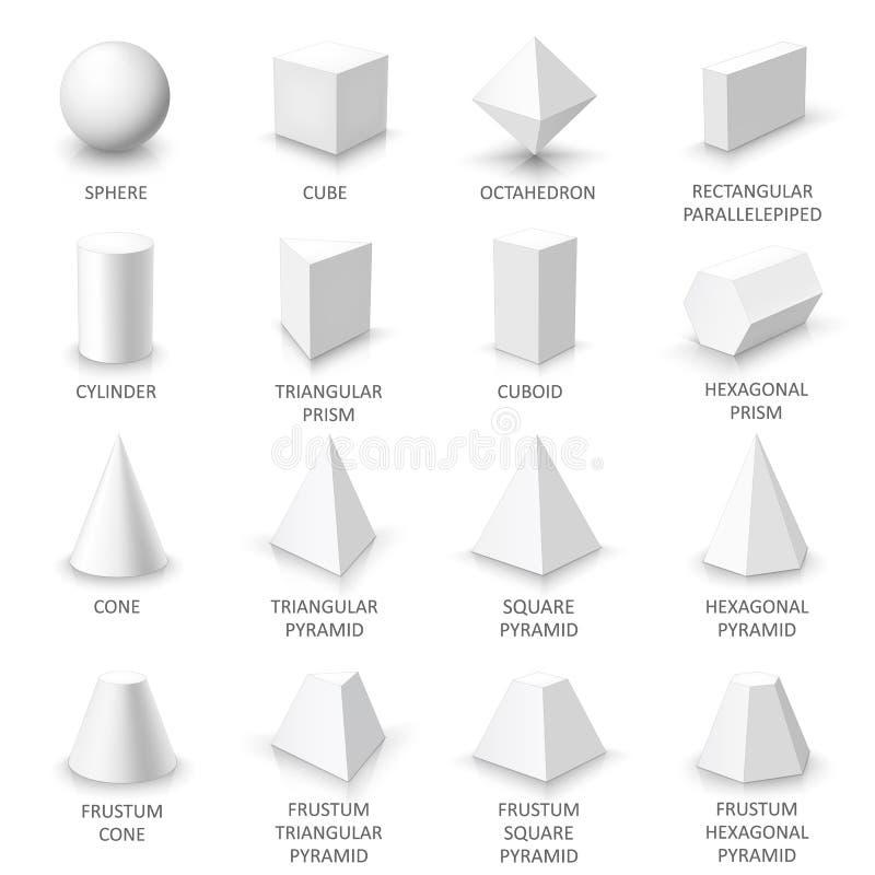 Insieme delle forme di base 3d fotografie stock libere da diritti