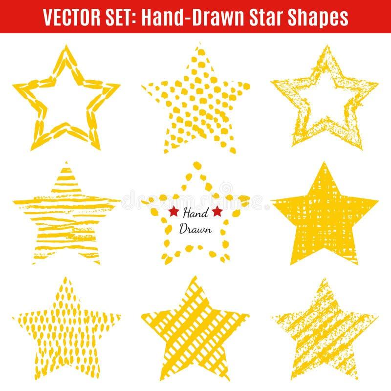Insieme delle forme disegnate a mano della stella di strutture Vettore royalty illustrazione gratis