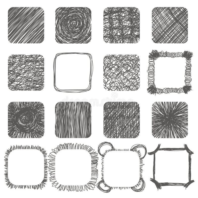Insieme delle forme disegnate a mano dello scarabocchio Elementi di disegno di vettore Righe illustrazione vettoriale
