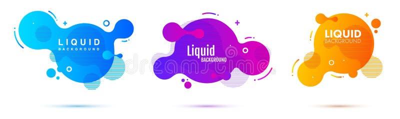 Insieme delle forme geometriche dell'estratto liquido di colore Elementi fluidi per l'insegna minima, logo, posta sociale di pend illustrazione di stock