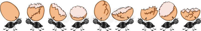 Insieme delle formiche sul marzo che porta le uova tagliate royalty illustrazione gratis