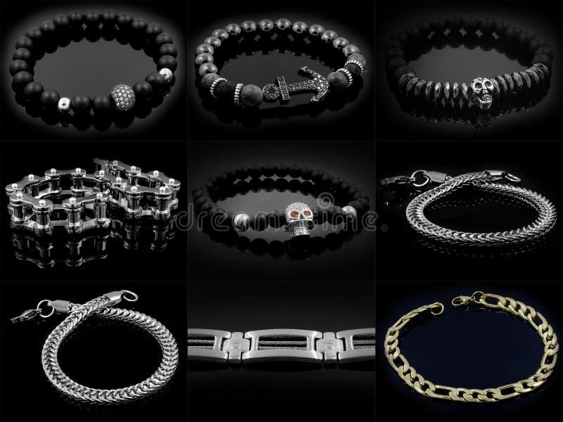 Insieme delle foto dei gioielli - braccialetti della palla illustrazione di stock