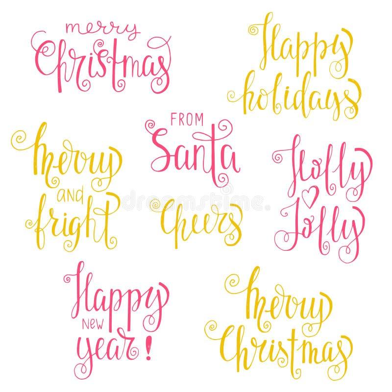 Insieme delle frasi di calligrafia di Natale illustrazione vettoriale
