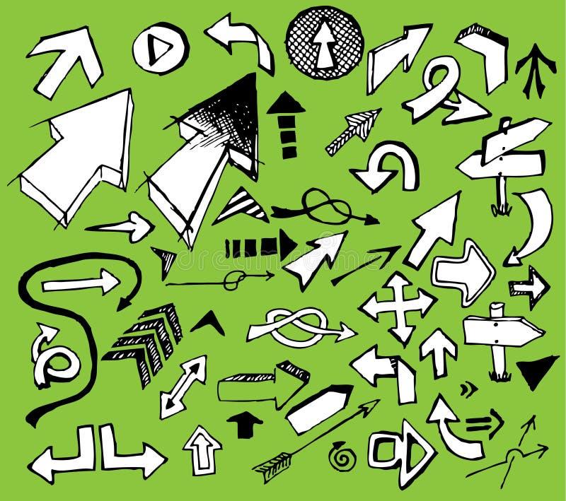 Insieme delle frecce bianche di doodle illustrazione di stock