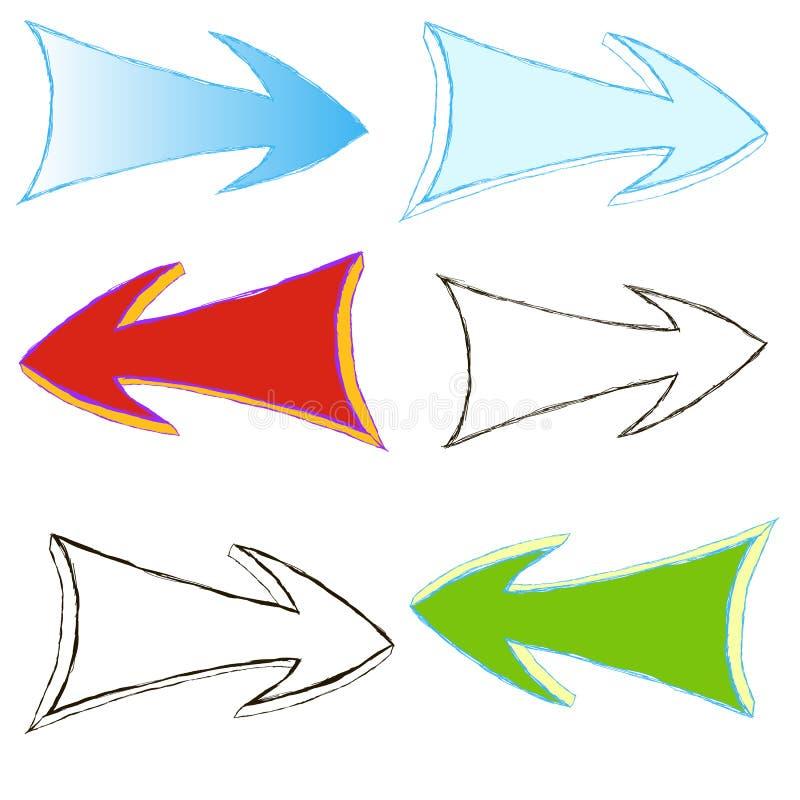 Insieme delle frecce colorate dipinte a mano illustrazione vettoriale