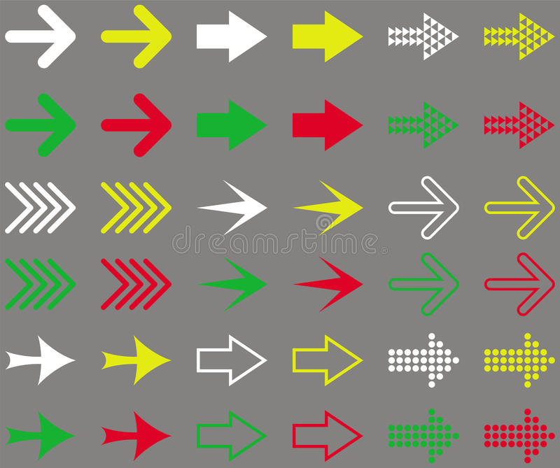 Insieme delle frecce colorate Illustrazione isolata su fondo grigio illustrazione vettoriale
