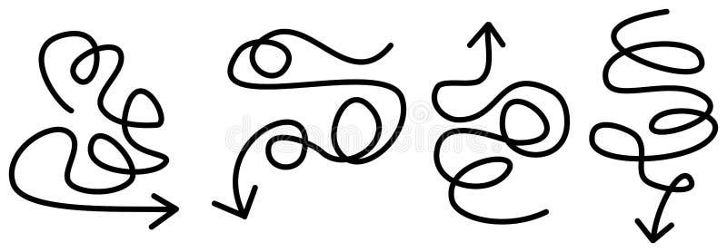 Insieme delle frecce curve e disegnate a mano di direzione dello scarabocchio dell'indicatore illustrazione vettoriale