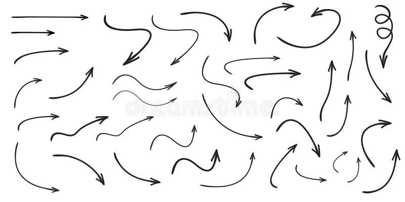 Insieme delle frecce curve vettore disegnate a mano Stile di scarabocchio di schizzo illustrazione vettoriale