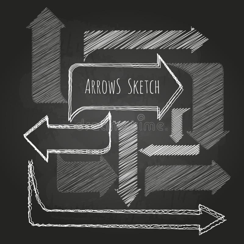 Insieme delle frecce del disegno di gesso illustrazione vettoriale