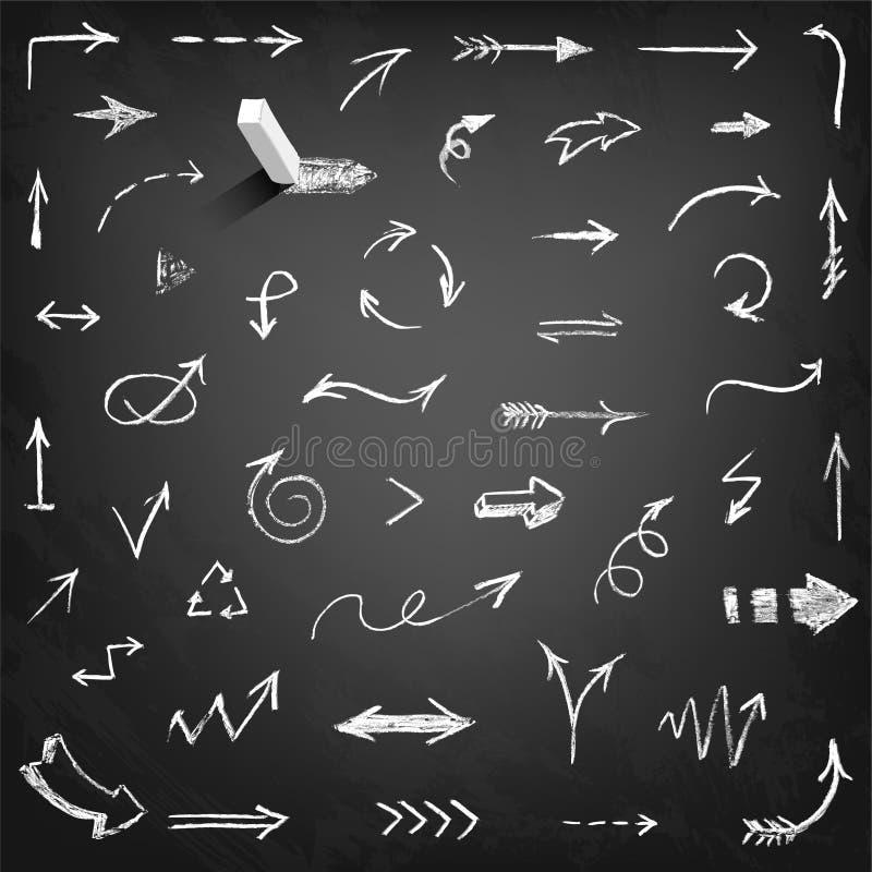 Insieme delle frecce del gesso illustrazione di stock