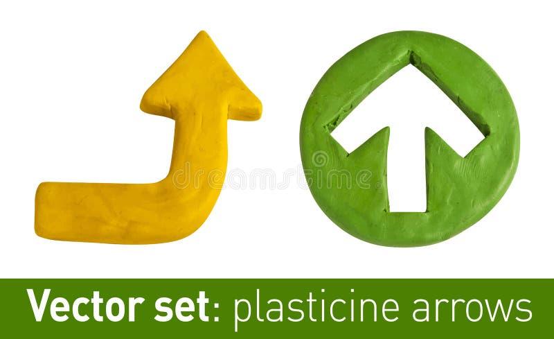 Insieme delle frecce del plasticine per la vostra progettazione illustrazione vettoriale