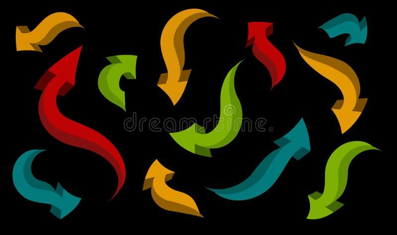 Insieme delle frecce delle forme e dei colori differenti illustrazione di stock
