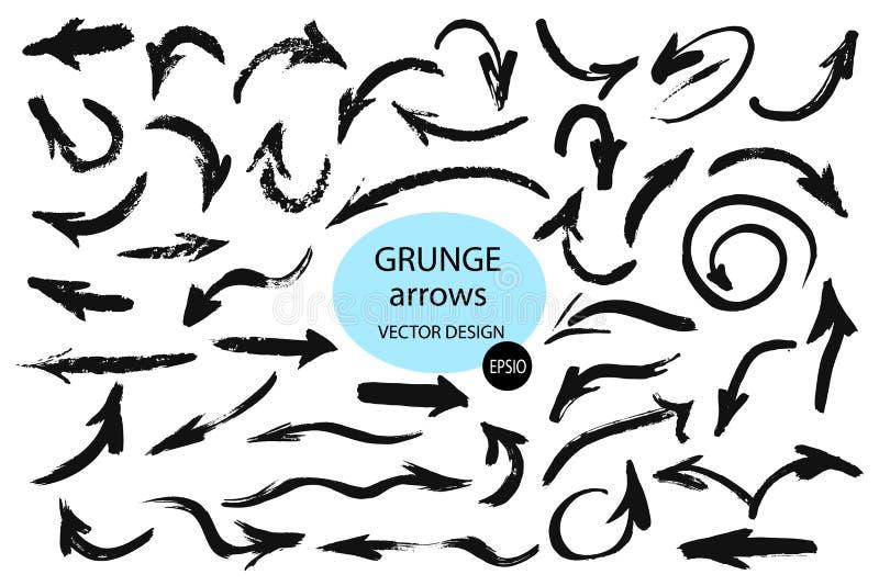 Insieme delle frecce differenti della spazzola di lerciume, puntatori Oggetto disegnato a mano della pittura per uso nella vostra illustrazione vettoriale