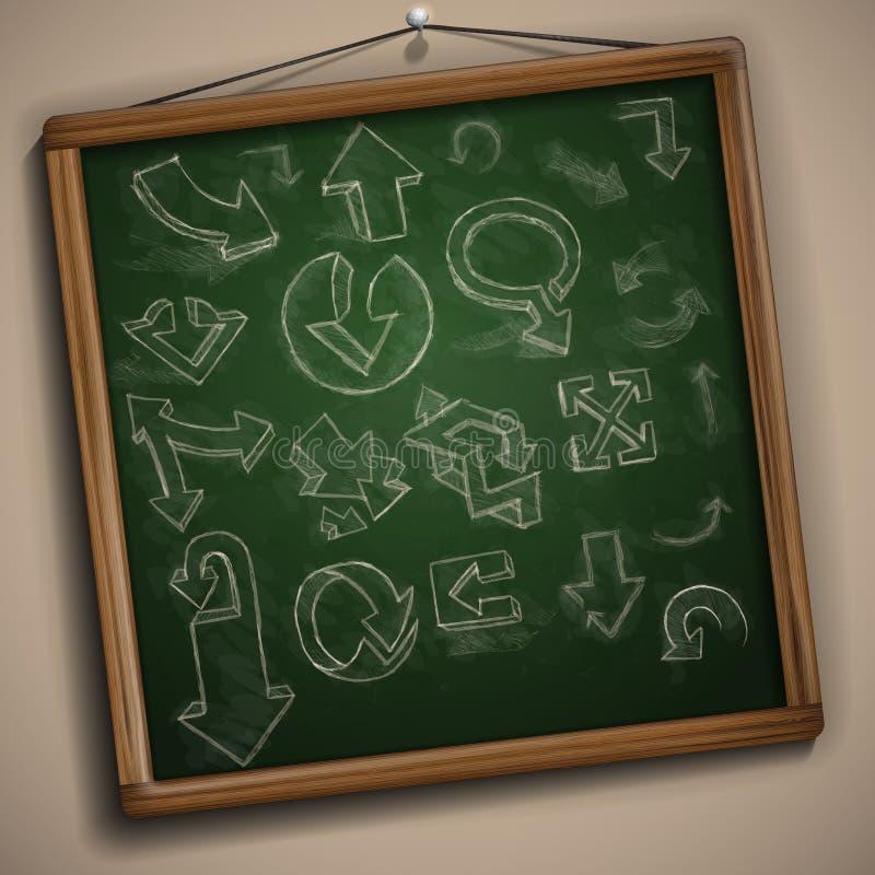Insieme delle frecce disegnate a mano di scarabocchio. illustrazione di stock