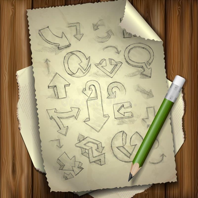 Insieme delle frecce disegnate a mano di scarabocchio. royalty illustrazione gratis