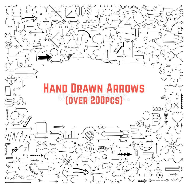 Insieme delle frecce disegnate a mano nere illustrazione vettoriale