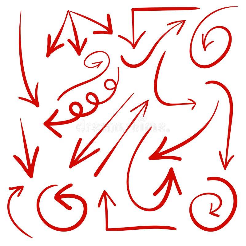 Insieme delle frecce disegnate a mano Vettore Frecce rosse illustrazione di stock