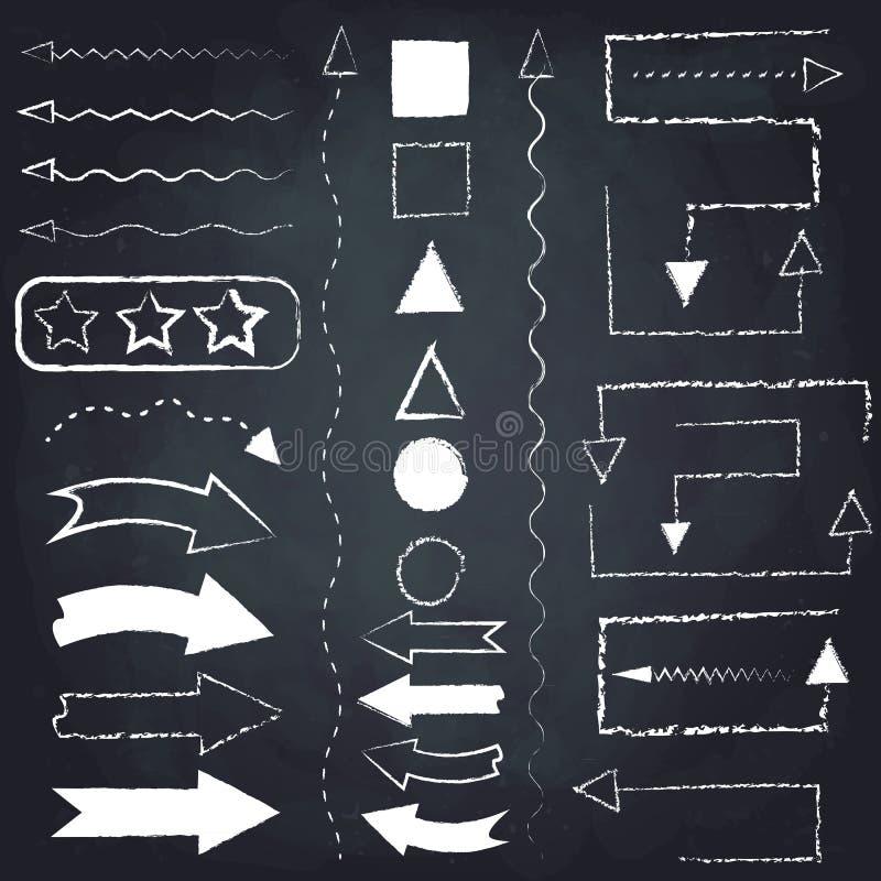 Insieme delle frecce e dei simboli del gesso illustrazione di stock