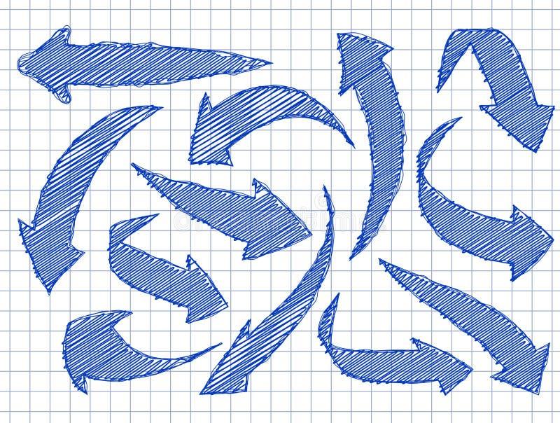 Insieme delle frecce per il vostro stile disegnato di progettazione a disposizione Inchiostro blu sulla a illustrazione vettoriale