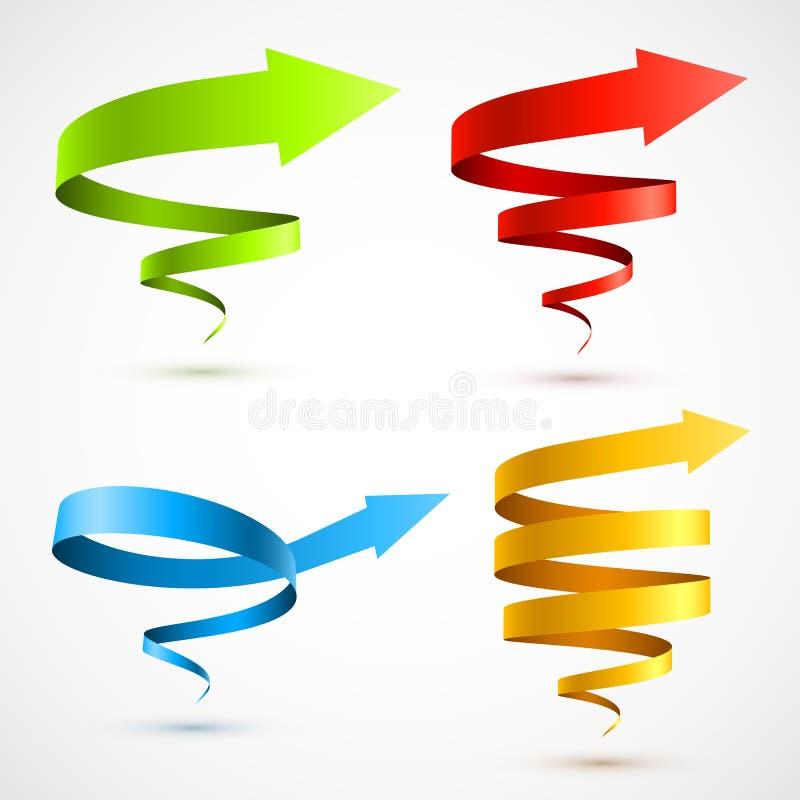 Insieme delle frecce a spirale variopinte 3D illustrazione vettoriale