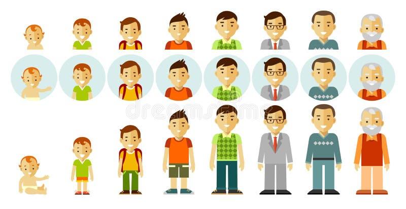 Insieme delle generazioni della gente alle età differenti illustrazione di stock