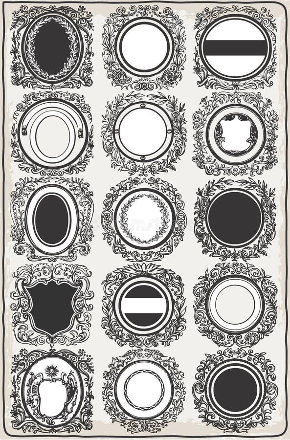 Insieme delle ghirlande grafiche d'annata per il logos illustrazione di stock