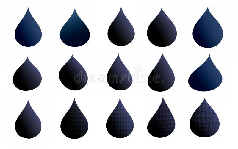 Insieme delle gocce blu scuro per la vostra progettazione illustrazione di stock