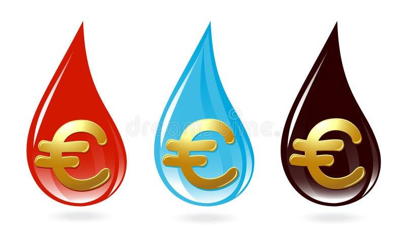 Insieme delle gocce con l'euro segno illustrazione vettoriale