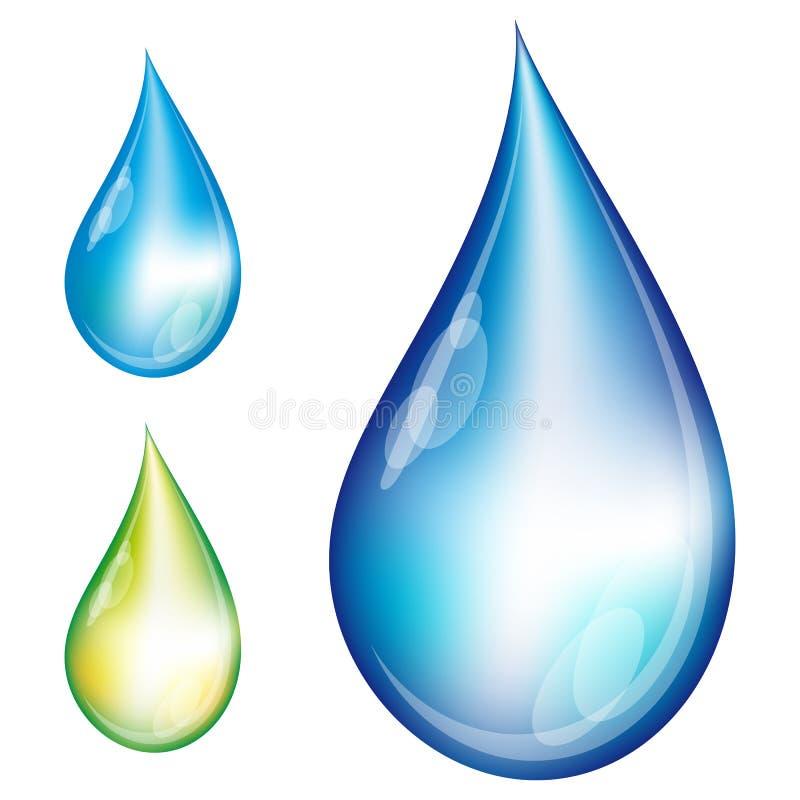 Insieme delle gocce dell'acqua. illustrazione vettoriale