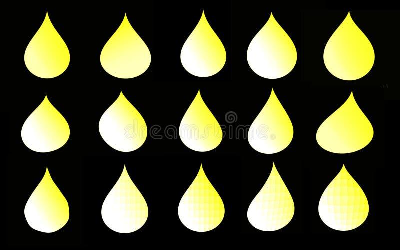Insieme delle gocce gialle su un fondo nero per la vostra progettazione illustrazione di stock