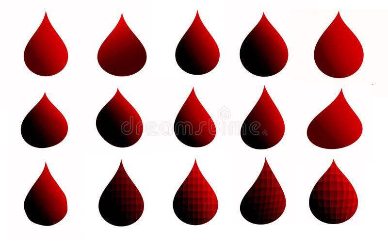 Insieme delle gocce rosse per la vostra progettazione royalty illustrazione gratis