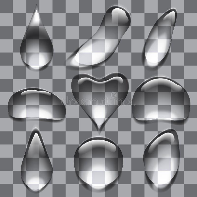 Insieme delle gocce trasparenti delle bolle illustrazione di stock
