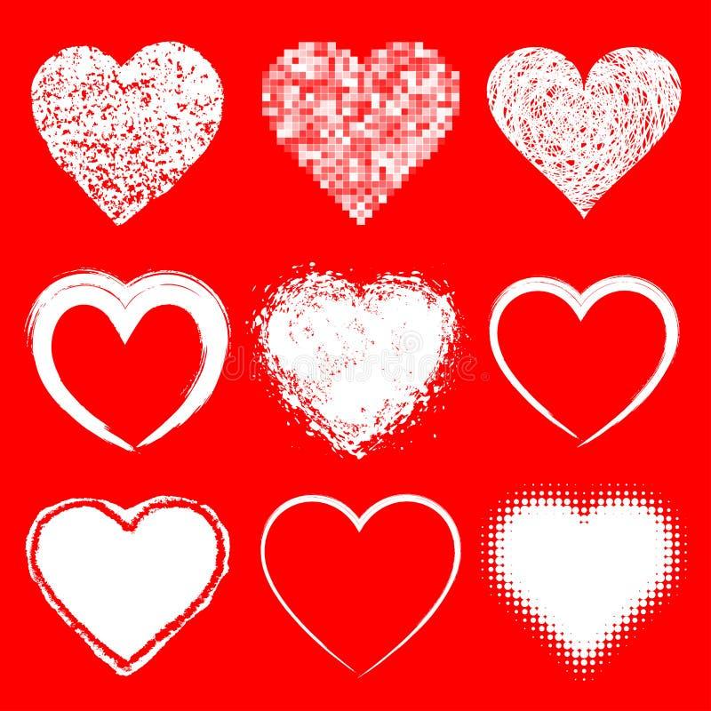 Insieme delle icone bianche dei cuori di lerciume di scarabocchio su backgroun rosso illustrazione di stock