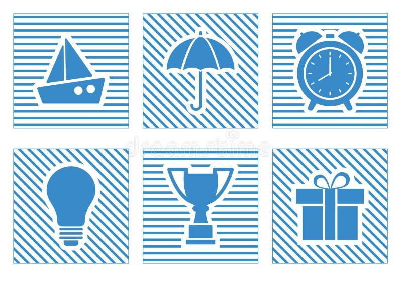 Insieme delle icone blu di web Illustrazione di vettore royalty illustrazione gratis