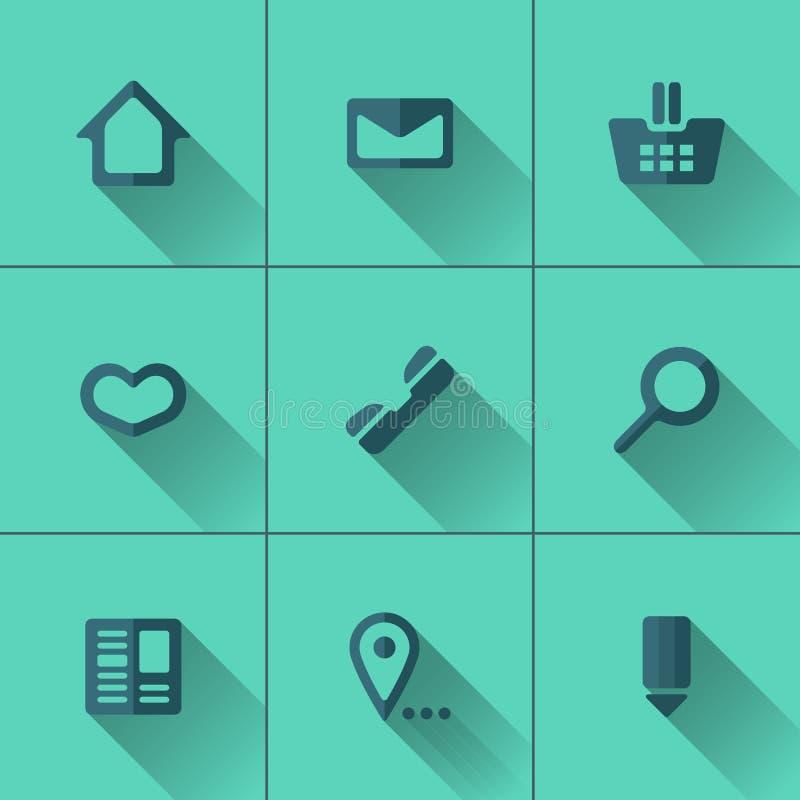 Insieme delle icone blu per il menu del sito Web Progettazione piana illustrazione di stock