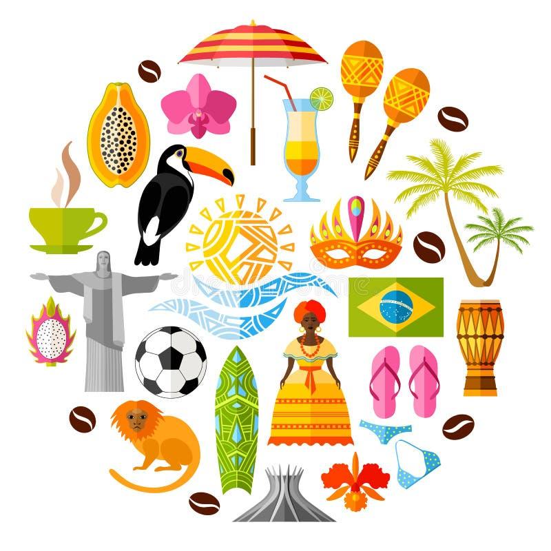 Insieme delle icone brasiliane nello stile piano Simboli di vettore ed elementi di progettazione illustrazione di stock