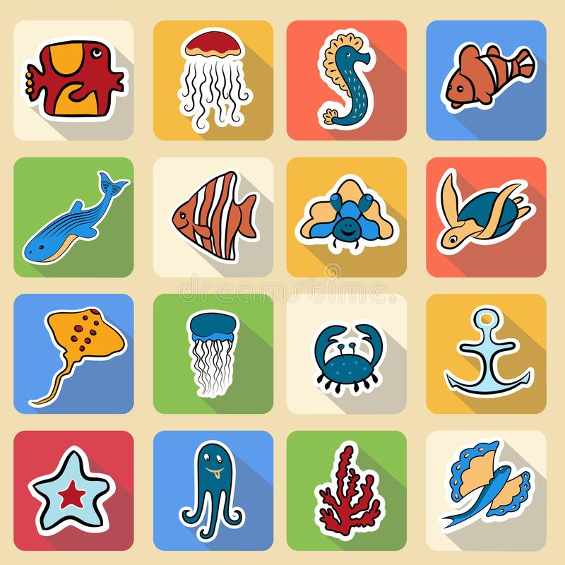 Insieme delle icone colorate, abitanti del mondo subacqueo illustrazione di stock