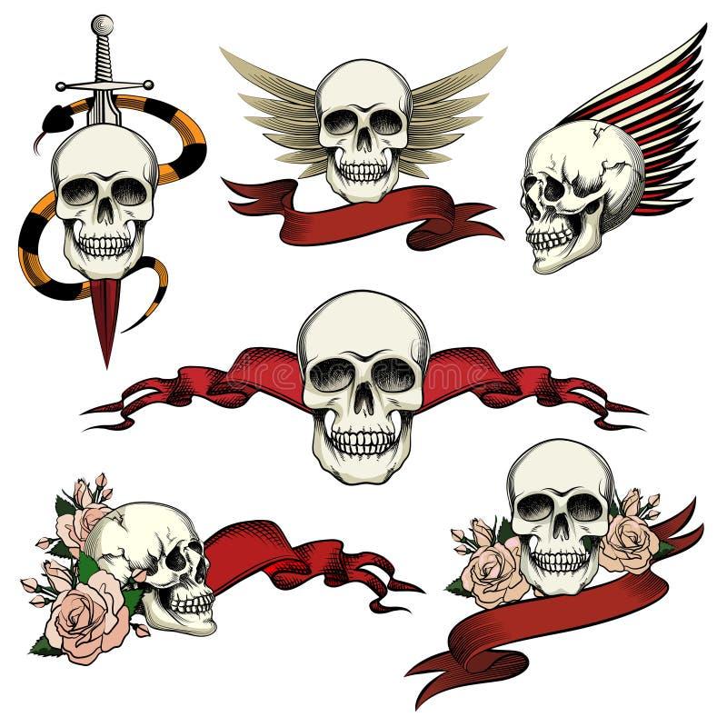 Insieme delle icone commemorative del cranio illustrazione vettoriale