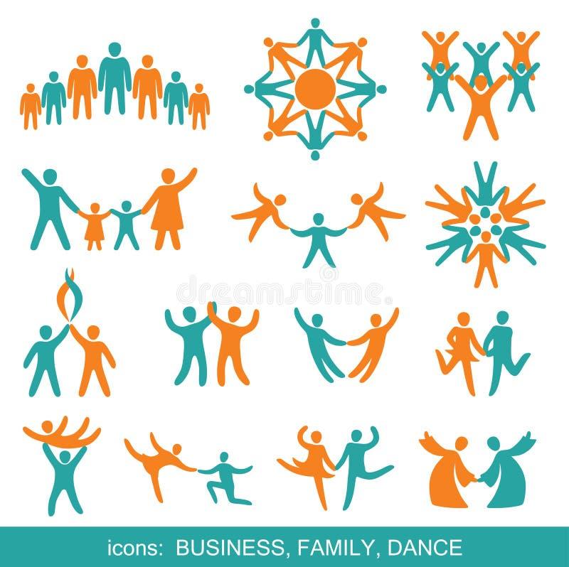 Insieme delle icone: Commercio, famiglia, ballo. illustrazione di stock
