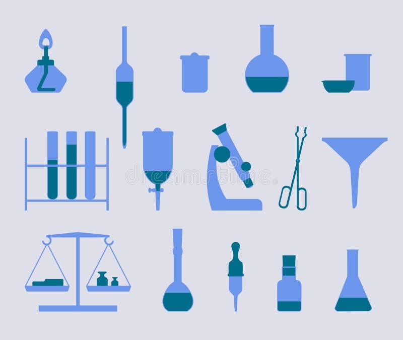 Insieme delle icone con l'attrezzatura della medicina e di chimica royalty illustrazione gratis