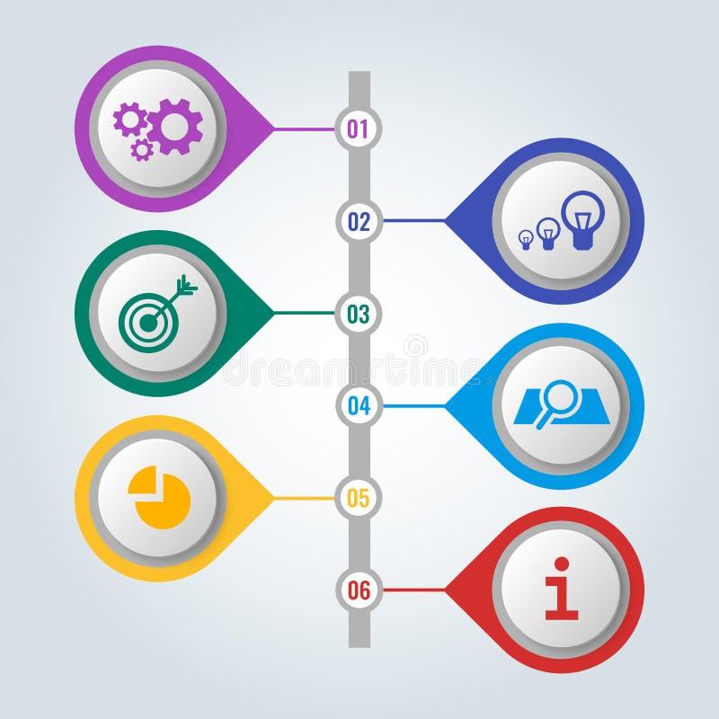 Insieme delle icone con lo schema ed i punti di lavoro, concetto infographic illustrazione vettoriale