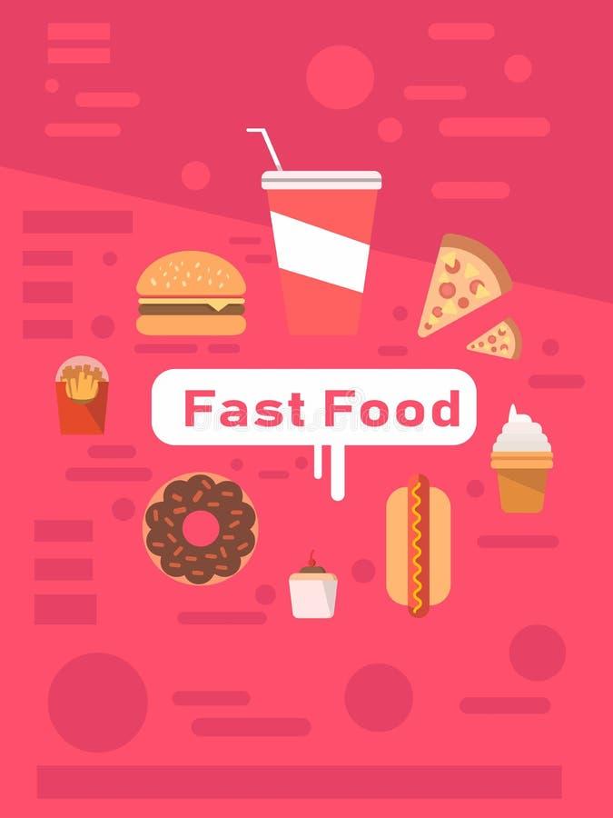 Insieme delle icone degli alimenti a rapida preparazione Pasto rapido illustrazione vettoriale