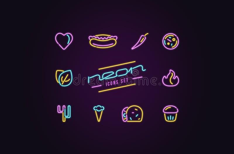 Insieme delle icone degli alimenti a rapida preparazione sotto forma di lampade al neon royalty illustrazione gratis