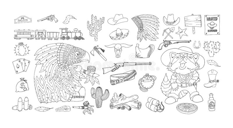 Insieme delle icone degli elementi di selvaggi West Inchiostro e disegno a penna Attribuisce la frontiera americana illustrazione di stock