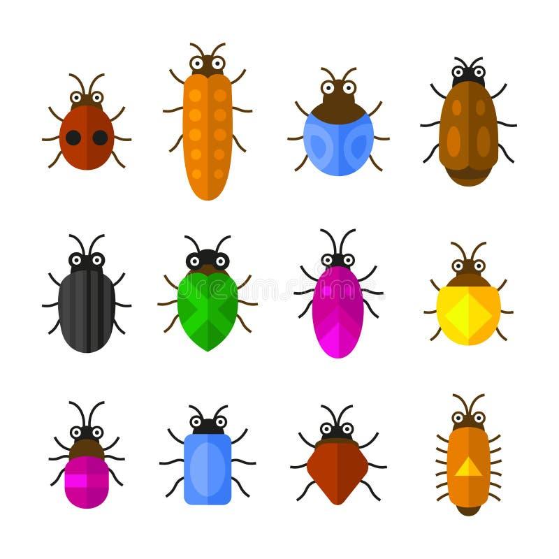 Insieme delle icone degli insetti e degli insetti Stile sveglio del fumetto Vettore illustrazione vettoriale