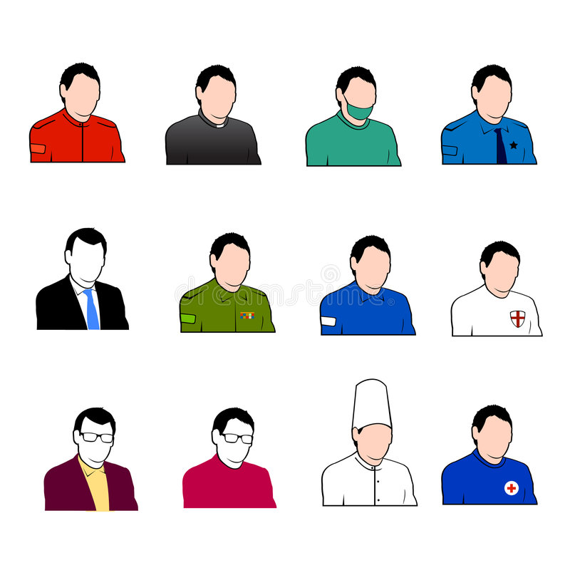 Insieme delle icone degli operai del lavoro di vettore illustrazione vettoriale