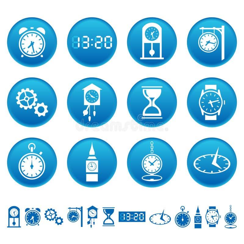 Icone degli orologi e degli orologi illustrazione vettoriale