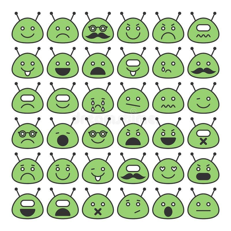 Insieme delle icone degli stranieri di spazio con differenti fronti felici e tristi di emozioni, royalty illustrazione gratis