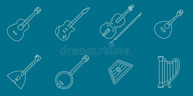 Insieme 01 delle icone degli strumenti di musica illustrazione vettoriale