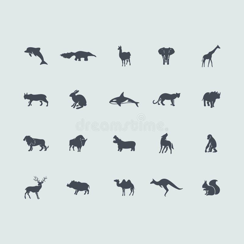 Insieme delle icone dei mammiferi illustrazione vettoriale